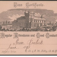Image: certificate with image of building on it