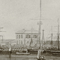 Image: A sketch of the Port Adelaide waterfront during the early nineteenth century. A group of people are engaged in different activities in the foreground, including a man mending nets while a woman looks on. Several ships are moored at a wharf