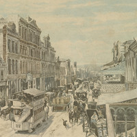 Image: a coloured lithograph of a busy city street, lined with shops and full of pedestrians and horse drawn vehicles, including a tram