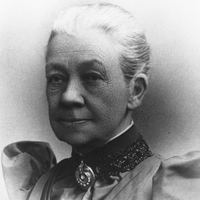 Image: Black and white photograph of an elderly lady