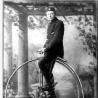 Image: 17 year old South Australian champion cyclist, W. Tregonning, on his penny-farthing bicycle