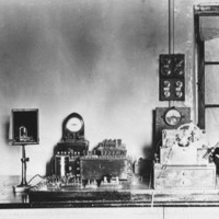 Image: A bench with telegraphic equipment on it