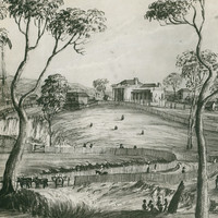 Image: a sketch of a small town on the banks of a river. There is an assortment of one and two storey buildings. The foreground features fenced roads and groups of Indigenous people.