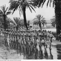 Image: Soldiers march in front of Torrens Parade Ground