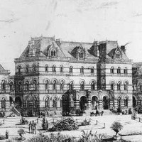 Image: A drawing of three large buildings surrounded by gardens.