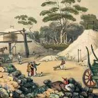 Image: A colour sketch of several men pushing wheelbarrows and sifting through sand