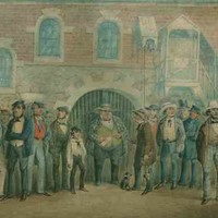 Image: a coloured sketch of a group of men in 1850s clothing gathered outside a two storey building with a large barred archway
