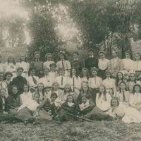 Group photograph of the last students and staff of the Advanced School for Girls, c. 1910.