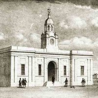 Image: A sketch of a rectangular single-storey building with a central clock tower and cupola