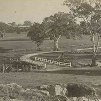 Image: A large paddock featuring a dirt road that crosses a creek via a stone bridge. A large house is just visible in the background