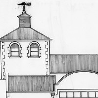 Image: simple line sketch of a building with arches and a weather vane
