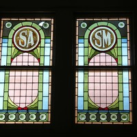 Stained glass window, with SM for School of Mines, Brookman building, 2013