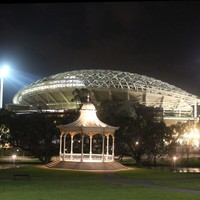 Elder Park rotunda at night with Adelaide Oval, September 2013
