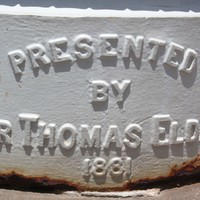 Presented by Sir Thomas Elder 1881 embossed on base of column, Elder Park rotunda
