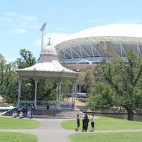 Elder Park rotunda and Adelaide Oval, December 2013