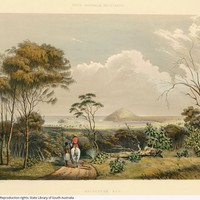 Image: illustration of landscape with two figures moving away from viewer, European man on horseback, Aboriginal man walking.