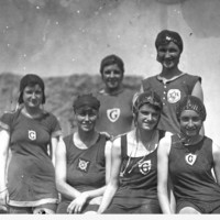 Image: A group of six girls dressed in swimming costume at Henley Beach, South Australia in 1923