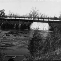 Image: View of river water fall under bridge