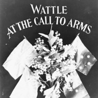 Image: A wattle plant, with two British flags, and two Australian flags flying behind, and some text.