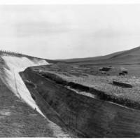Image: Deep manmade ravine on hillside