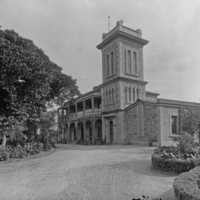 Image: Black and white photo of an old observatory building.