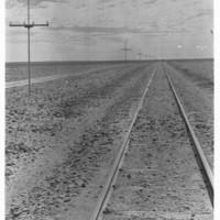 Image: Line of poles strung with wires next to railway tracks