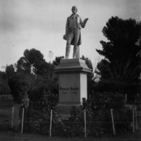 Image: black and white photo of statue in garden