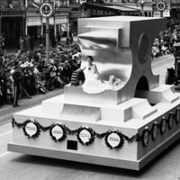 Float in the Pageant of Progress, 1936, representing the importance of manufacturing to the state.