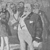 Image: A cartoon depicting a large group of men dressed in Victorian-era attire. The men are gathered in a large, open hall with tall windows