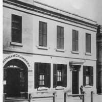 Image: Black and white photograph of a building