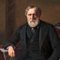 Image: an oil painting of a bearded man dressed in a black 1880s era three piece suit and seated on a plush red chair. His right elbow rests on a South Australian newspaper which is draped over a small table also bearing books and an open glass inkwell.