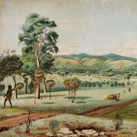 Image: A painting of a natural environment with rolling hills in the background; Indigenous men, women and children, some with spears; and a man and bullock cart travelling down a dirt road.