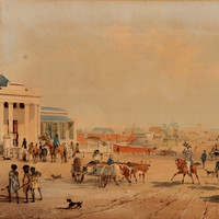 Image: Dirt street with people walking and riding horses