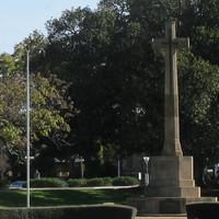 Image: Large stone cross in garden