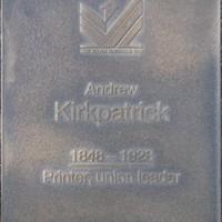 Jubilee 150 walkway plaque of Andrew Alexander Kirkpatrick