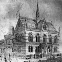 Image: A black and white sketch of a large stone building of four distinct sections decreasing in hight as they go down the hill. The frontmost, most ornate section, features church style windows and a spire.