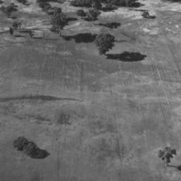 Image: aerial view of furrowed landscape