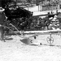 Image: photo of man pushing plow with letters to indicate the different parts of the plow