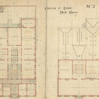 Image: a floorplan of a large, two storey public building featuring laboratories, a museum and a library.