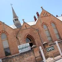 Image: Colour photo of historic brickwork building Moonta Mines Museum.