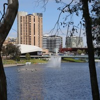 Image: View of lake and buildings