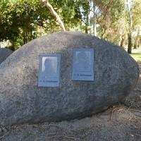 Image: bronze plaques set in granite boulders