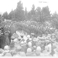 Image: large group of people, men in uniform lined up with guns pointing to the air.