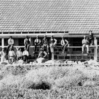 Image: A group of Caucasian workmen in early Edwardian attire sit on scaffolding in front of a long stone building. The building is divided into three separate dwellings with verandahs