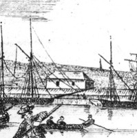 Image: A sketch of nineteenth century Port Adelaide's waterfront, featuring a small number of buildings, a wharf, and a number of sailing ships and small boats moored in the harbour