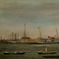 Image: Several sail- and steam-driven ships are moored at a long wharf. Smaller vessels are shown in the foreground, and several waterfront buildings are just visible in the background