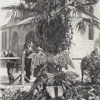 Image: Floral tributes rest against a large palm tree