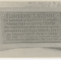 Image: 1902 plaque on Flinders Column - text reads: In honour of Matthew Flinders, commander of the Investigator, who from Kangaroo Head, Kangaroo Island discovered and named Mount Lofty on Tuesday 23rd March 1802.