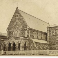 Image: Black and white image from the 1870s of the Stow Memorial Congregational Church