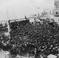 Image: a large crowd of workers gather for a strike at a wharf, the ocean can be seen in the background